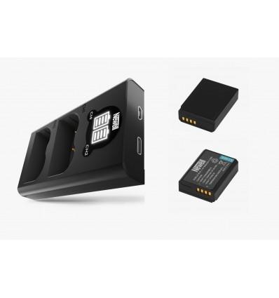 Newell cargador doble + 2 baterías LPE10
